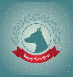 happy new year year of the dog holiday card with vector image