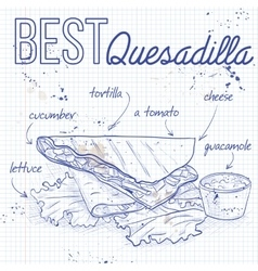 Quesadilla recipe on a notebook page vector image vector image