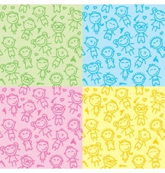seamless patterns with kids vector image vector image