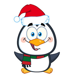 happy christmas penguin character vector image vector image