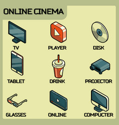 online cinema color outline isometric icons vector image vector image