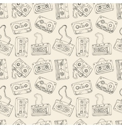 Seamless pattern of retro cassette tapes vector image