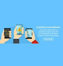 cracked smartphone banner horizontal concept vector image