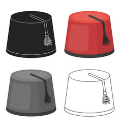 Fez icon in cartoon style isolated on white vector