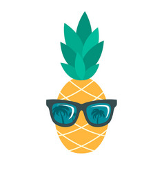 icon of pineapple with sunglasses isolated on vector image vector image