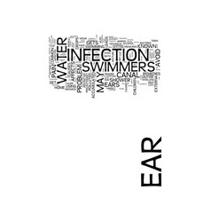 Learn about swimmers ear text background word vector