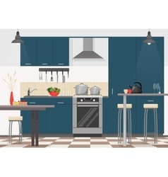 Modern kitchen interior with furniture and cooking vector image vector image