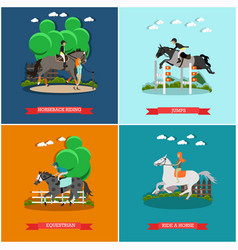 set of horse concept posters in flat style vector image vector image