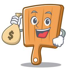 with money bag kitchen board character cartoon vector image vector image