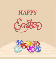 an inscription with the wish of happy easter vector image vector image