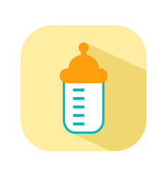 bottle with a nipple for feeding flat color icon vector image