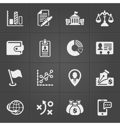 Business and finance icons on black set 3 vector image vector image