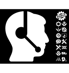 Call Center Operator Icon with Tools Bonus vector image vector image