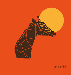 giraffe head geometric lines silhouette isolated vector image vector image