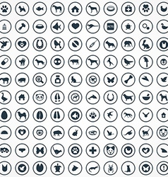 100 animals pets icons set vector image vector image