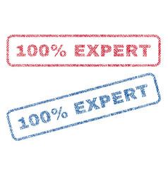 100 percent expert textile stamps vector