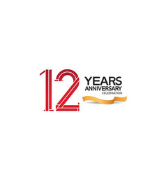 12 years anniversary template with red color vector