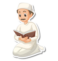 A sticker template with muslim man reading quran vector