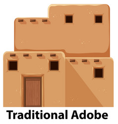A traditional adobe house vector