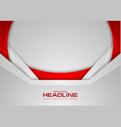 Abstract grey and red tech corporate wavy vector