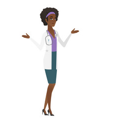 African-american confused doctor with spread arms vector