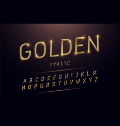 alphabet gold metallic and effect designs vector image
