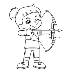 Archer girl aiming target bw vector