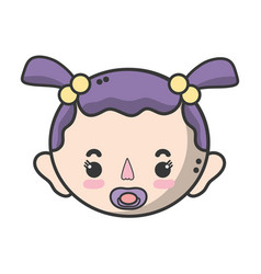 baby girl head with pacifier and hairstyle vector image