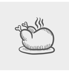 Baked whole chicken sketch icon vector image