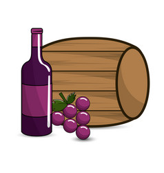 Barrel bottle of wine and grape icon vector