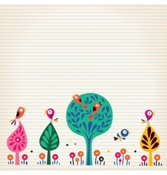 Birds in the trees nature lined paper background vector