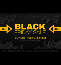 black friday sale banner template in black and vector image