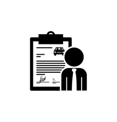 Black silhouette car contract and salesman vector