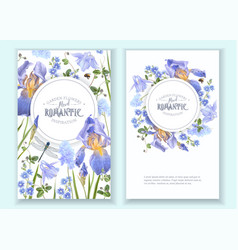 Blue flower round banners vector