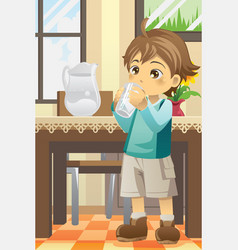 boy drinking water vector image