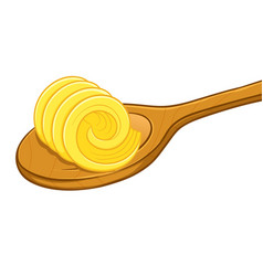 Butter curl on a wooden spoon vector