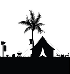 camping in nature with accesoir in black color vector image