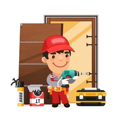Carpenter Installs the Door vector image