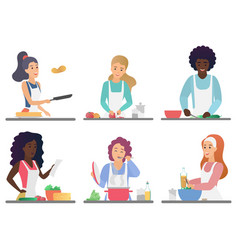 Cartoon happy cute people cooking set isolated vector