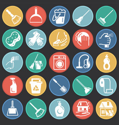 cleaning icons set on color circles black vector image