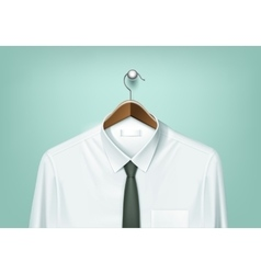Coat brown hanger with white shirt and black tie vector