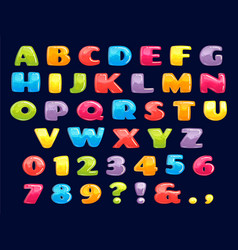 Color cartoon font chubby colored letters fun vector
