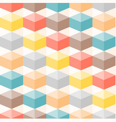Colourful geometric 3d box seamless pattern vector