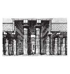 Columned hall of temple of karnak egypt vintage vector