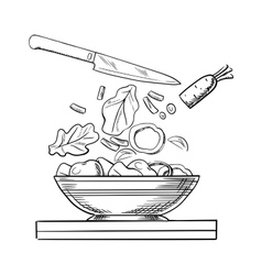 Cooking salad with fresh vegetables sketch vector