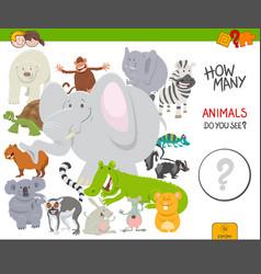 Count animals educational task for children vector