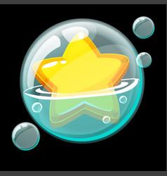 Cute yellow star in a big soap bubble vector