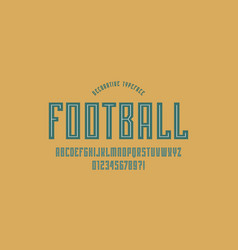 Decorative narrow sans serif font in sport style vector