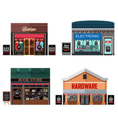 Different stores with black friday sale signs vector