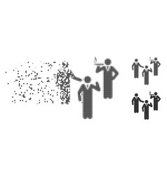 Discuss standing persons dissolved pixel halftone vector